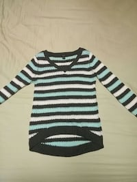 Gray, blue, and white striped v-neck sweater