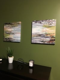 TWO WATERCOLOUR CANVAS PAINTINGS Whitby, L1N 0E5