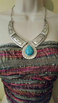 Silver and turquoise statement necklace