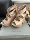 beige leather BCBG strappy chunky heels