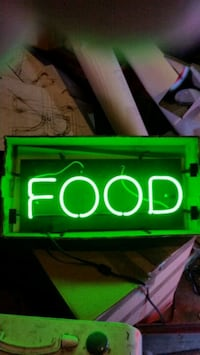 green and white FOOD LED signage