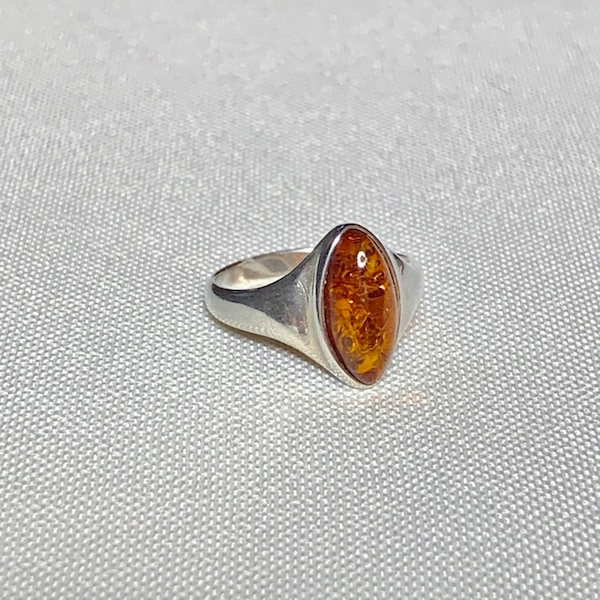 Genuine Sterling Silver Baltic Amber Ring 2
