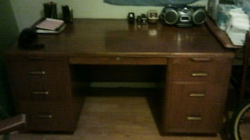 Solid wood desk and swivel chair