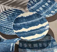 New Williams Sonoma (Set of 4) Japanese Shibori Mixed Patterns Melamine Indoor/Outdoor Salad or Dessert Plates. Washington, 20001
