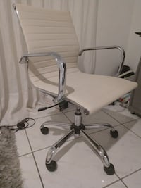 Ivory/Chrome Soft Ribbed Leather Executive Chair with Arms Miami
