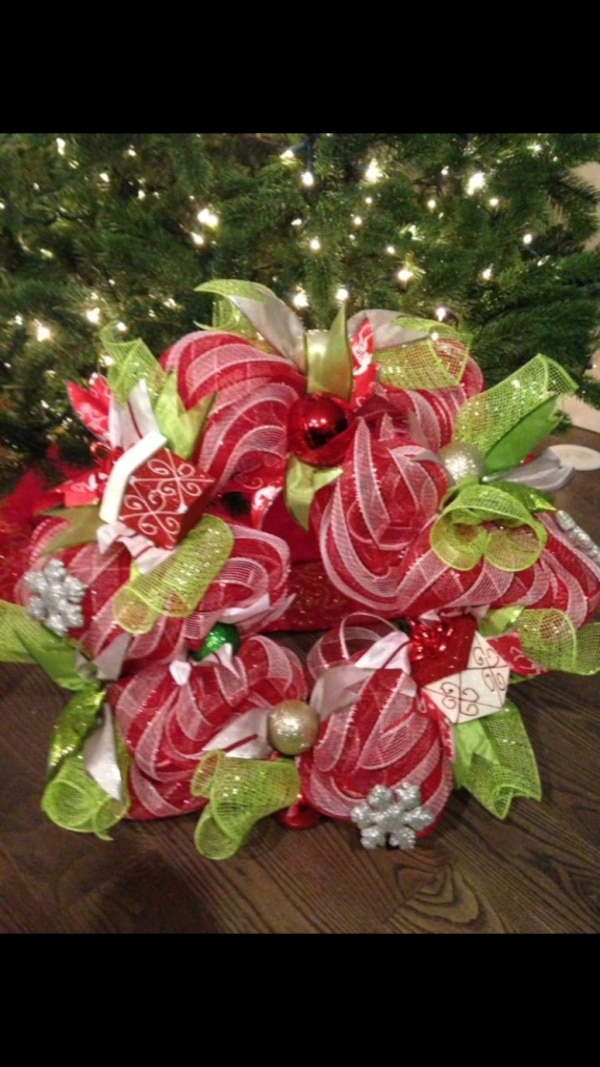 Red, white, and green mesh wreath