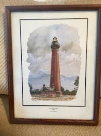 Brown wooden frame with light house painting Charleston, 25302