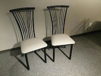 two black metal framed white padded chairs Vaughan, L4L