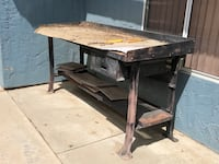 brown wooden table with bench