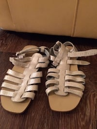 Off white/silver gladiator sandals-moving sale Arlington