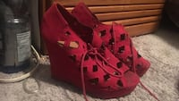 pair of red suede open-toe wedge sandals Sooke, V9Z 0T3