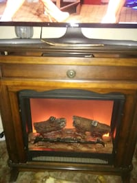 brown wooden framed electric fireplace Duncan, 73533