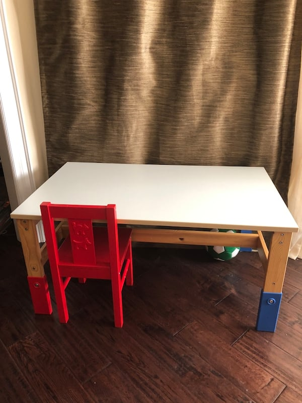 wooden table with one chair Ikea e316f5b1-ad5a-42f7-a799-c2950beddd12