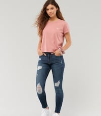 New Hollister womens super skinny jeans high rise distressed size 11 R
