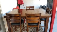 brown wooden 5-piece dining set