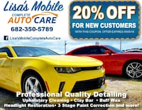 Lisa's Mobile complete auto care advertisement Granbury, 76048