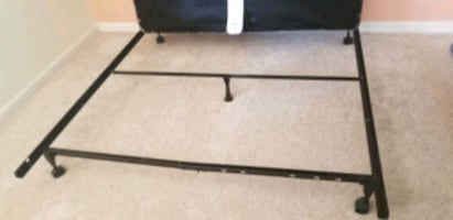 Queen size metal frame with wheels and matress box