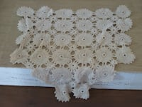 white and gray floral doily null