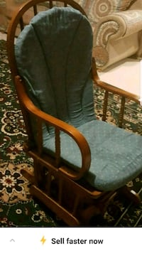 brown wooden framed green padded armchair Vaughan, L4H 3N5