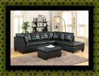 Black sectional with ottoman Brentwood