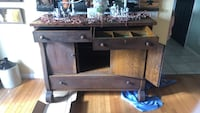 brown wooden TV stand with flat screen television Slate Hill, 10973