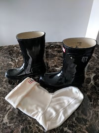 Black Ankle Gloss Hunter Boots MARKHAM
