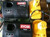 2@18.0 volt ryobi chargers and batteries