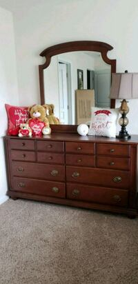 brown wooden dresser with mirror and nightstand Buford, 30518