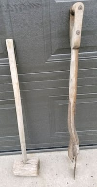 Antique Spade and Wooden Sledge Hammer