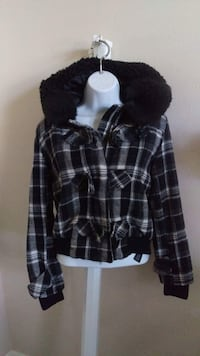black and white plaid zip-up hoodie Fresno, 93727