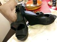 pair of black leather open toe ankle strap wedges East Dublin, 31027