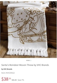 New Santa reindeer woven throw 60x50. It's never too early to start buying for Christmas . Selling for $10. Located by Oswell St/Brundage Lane. Thanks Bakersfield, 93307