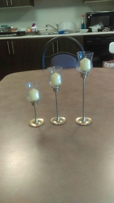 3 Tiered Brass Candle Holders w/Candles