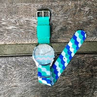 POPE WAVE WAVY OCEAN GRADIENT STRAP TRAVEL BEACH DESIGN WATCH