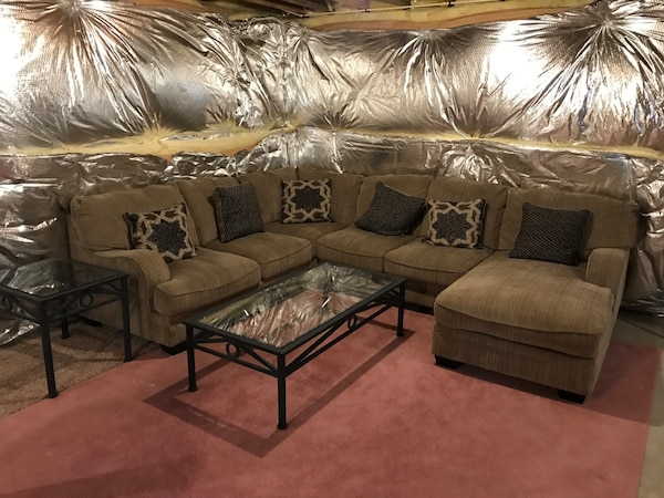 brown fabric sectional sofa and side tables - like new!