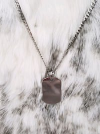 Sterling Silver Curb Dog Tag Necklace