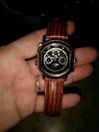 round black chronograph watch with brown leather strap Versailles, 40383