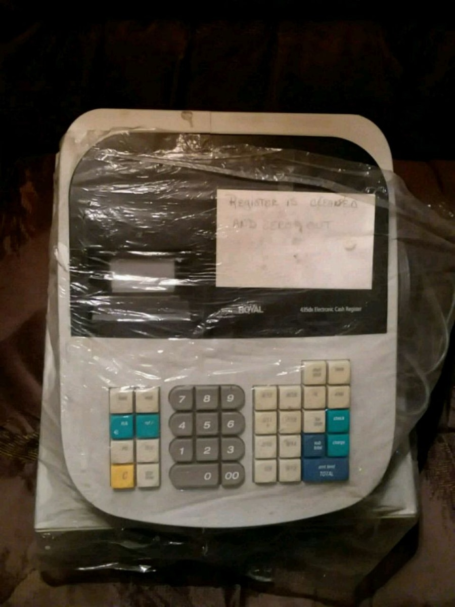 Used, white and black Royal cash register for sale  Cabery