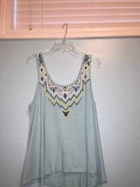 grey and yellow scoop neck tank top