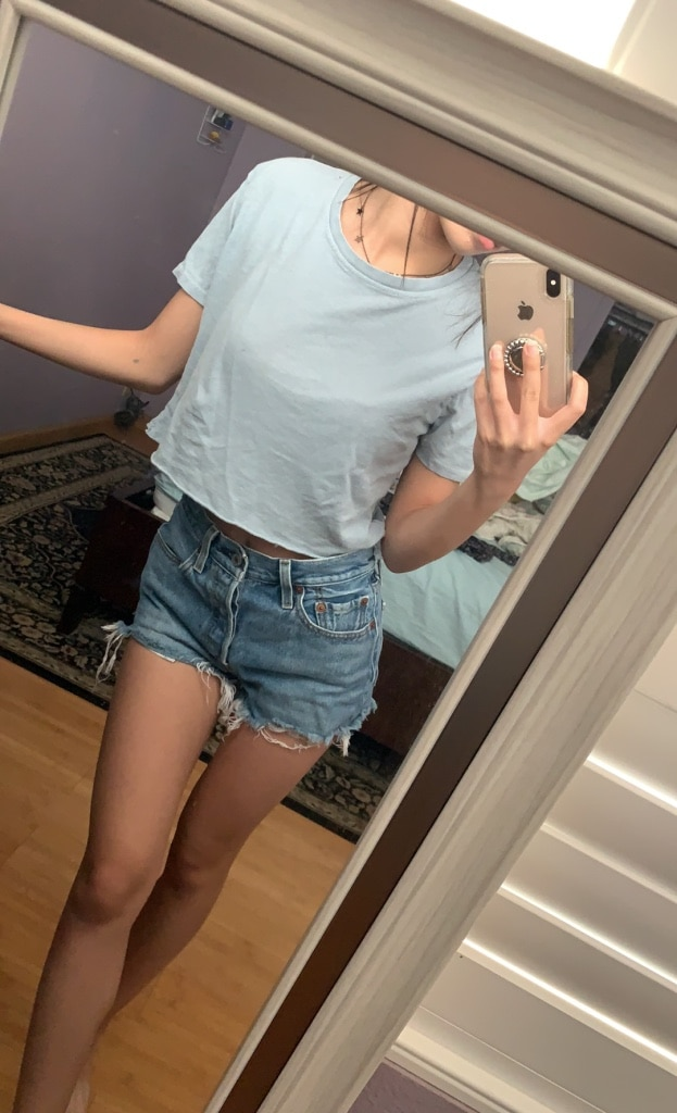 Photo Brandy melville light blue cropped shirt