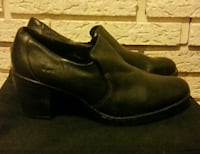 Black Leather Shoe with chunky heel Spring Hill, 50125