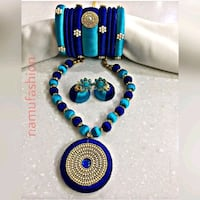 blue and white beaded necklace Dhule, 424001