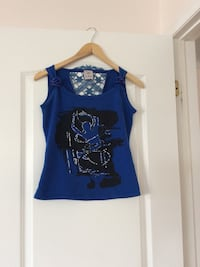 Women's blue and black abstract sleeveless top