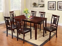 rectangular brown wooden table with four chairs dining set Brampton, L6W 3E7