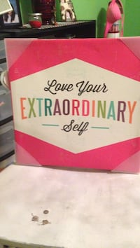 Pink and white love your extraordinary self text board