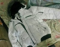 white and black zip-up jacket with fuzzy hoodie