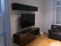 Beautiful Ikea TV Stand + wall shelf Black High Gloss: price firm  St Catharines