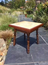 Vintage Wood and Marble Side Table - See Dimensions in Ad - EDH/Folsom Area
