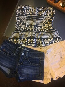 juniors Hollister , Charlotte russe shirts . Hollister and American Eagle short shorts