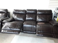 Three seater recliner leather sofa TORONTO